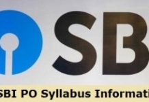 SBI PO Syllabus 2019 Information